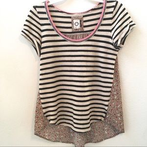 Anthropologie Akemi Kin Top Stripe Front Floral